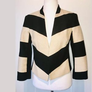 iris setlakwe Black Cream Striped Crop Blazer